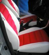 Велюр люкс красный + Экокожа люкс белая