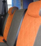 Велюр люкс оранжевый + Экокожа премиум серая