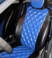 Экокожа люкс синяя + Экокожа люкс черная